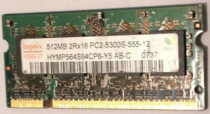 RAM for laptops: two 512 MB sticks ( = 1 GB)    PC2-5300S-555-12