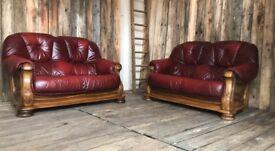 Oxblood leather Italian sofas