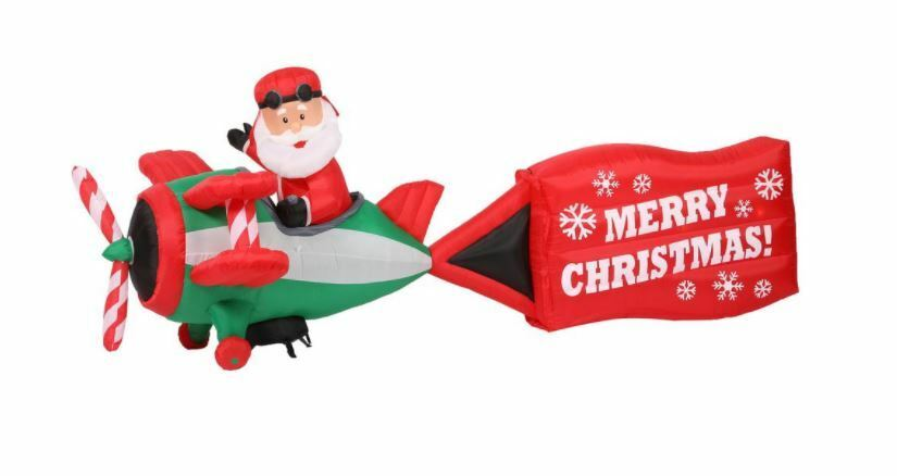 16 Ft Santa Plane Pulling Merry Christmas Sign Airblown Yard Inflatable