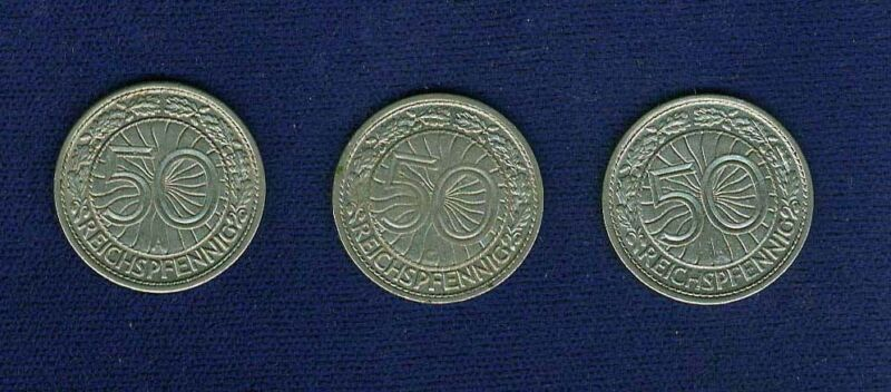 GERMANY WEIMAR REPUBLIC  50 REICHSPFENNIG COINS, 1927-G, 1928-A, 1930-A