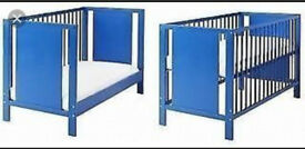 Ikea blue toddler cot bed with or without mattress