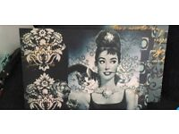 Like new 2x lovely Aubrey Hepburn Canvas pictures