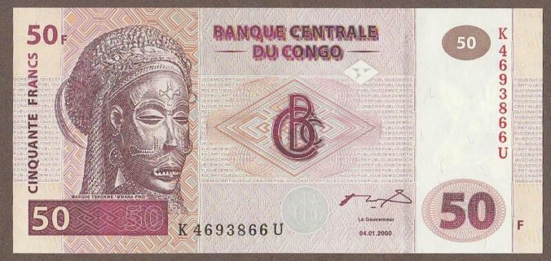 2000 CONGO DEMACRATIC REPUBLIC 50 FRANC NOTE UNC