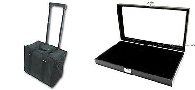 6 Glass Top Black 3 Mixed Liners Jewelry Display Storage Cases & Carrying Case Glass Jewelry Display Cases