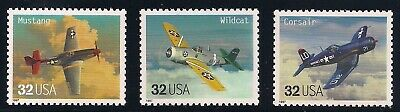 Fighter Wwii Aircraft - WWII FIGHTER PLANES / AIRCRAFT - MUSTANG CORSAIR WILDCAT - 3 U.S. POSTAGE STAMPS