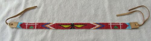 Sioux Indian Bead Beadwork Beaded Vintage Hat Band Necklace Route 66 Souvenir