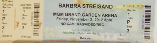 BARBRA STREISAND ORIGINAL CONCERT USED TICKET, MGM GRAND LAS VEGAS 2012