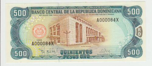 Dominican Republic 500 Pesos 1998 Pick 157 UNC Low number 000084