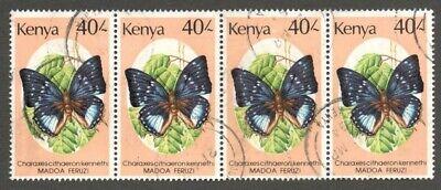 AOP Kenya #440 1988 Butterfly 40sh used strip of 4