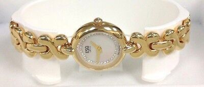ESQ Ladies Yellow Gold-Tone Bracelet Round Watch With White & Crystal Dial NWOT