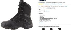 BATES DELTA BOOTS,8 INCH SIDE ZIP AND ADJUSTABLE SOLE INSERT,NEW