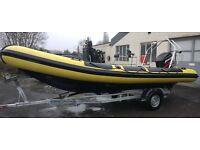RIB BOAT JMD 6m Rib Mercury 90hp fourstroke Trailer Dive boat Rigid inflatable