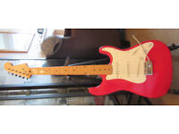Unbranded Red & White Electric Guitar Strat Style