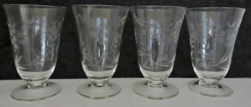 "4 VTG Etched Small Parfait Glasses Floral Design Stemware Barware 4.25""-5 oz-EUC"