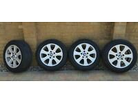 BMW alloy wheels with nearly new tyres