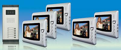 """5x 7"""" Farb erweiterbar Video Türsprechanlage Gegensprechanlage 5 Familien Haus"""