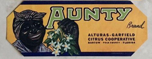 AUNTY BRAND CITRUS FRUIT CRATE LABEL / UNUSED