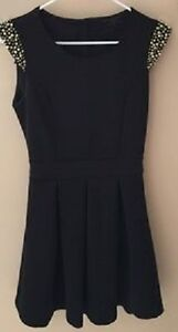 GUESS Black Dress with Gold Beaded Cap Sleeves, Size X-Small