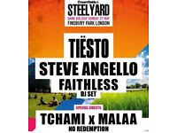 Steel yard london tickets tiesto faithless Steve Angello tchami malla at finsbury park Sunday