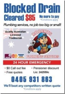 Blocked drains cleared from $85 Busby Liverpool Area Preview
