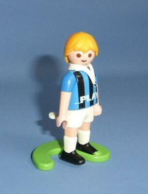 Playmobil Football Player Footballer Stand sport figure kick action Blue & White
