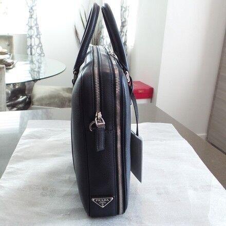 284c6a969d9e Prada Toro Baltico TU Leather Saffiano Briefcase In Dark Blue Brand New  Genuine and Authentic