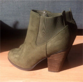 Faux suede stack heel khaki green ankle boot