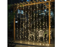 Joinable 3x3m Warm White 300LED curtain fairy string lights hanging background wedding decoration