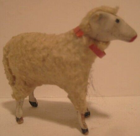 Old 1920s Miniature German Composition Wooly Sheep for Christmas Putz Village