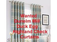 Wanted - Dunelm Mill Duck Egg Tartan Check Curtains and cushions