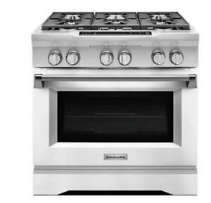 KITCHENAID KDRS467VMW 36 6-BURNER DUAL FUEL FREESTANDING RANGE (BD-1499)
