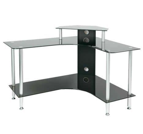 BLACK GLASS CORNER COMPUTER DESK OFFICE/LAPTOP/STUDY TABLE/WORKSTATION