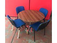 1200mm Circular Meeting Table Walnut Top / Chrome Base