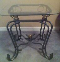 2 glass end tables