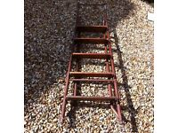 Metal and wooden stepladder