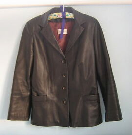 Brown Leather Ladies Fitted Blazer Size 8 £30
