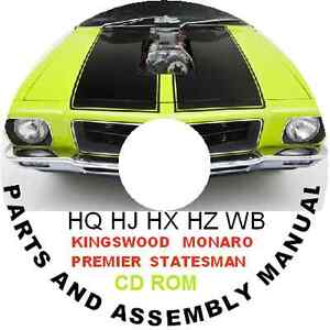 HOLDEN HQ HJ HX HZ WB MONARO GTS 308 350  PARTS RESTORATION ASSEMBLY BIBLE CDROM