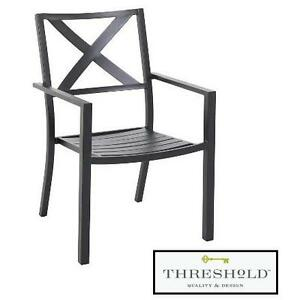 NEW* THRESHOLD AFTON PATIO CHAIR METAL FRAME BLACK FINISH STACKABLE CHAIRS OUTDOOR OUTDOORS SEAT SEATS SEATING