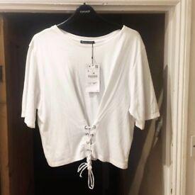 BRAND NEW Zara corset-style top in white