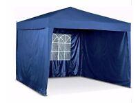 3 x 3m Pop-Up Garden Gazebo with Side Panels in Blue Clr 126.