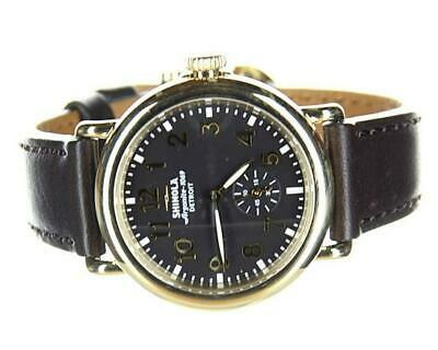 Shinola 'The Runwell' 36 mm Gold Black Dial Brown Leather Strap Watch S0200042