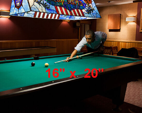 "President Obama~Playing Pool~Billiards~#1~Shooting Pool~Poster~Photo~ 16"" x  20"""