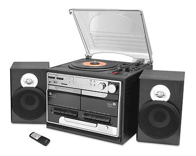 Pyle PTTCSM70BT Bluetooth Turntable Cassette Stereo System w/USB to SD Recording