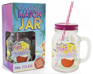 COCKTAIL JAM JAR GLASSES WITH HANDLE LID STRAW JUICE DRINK 500ML GLASS DRINKING