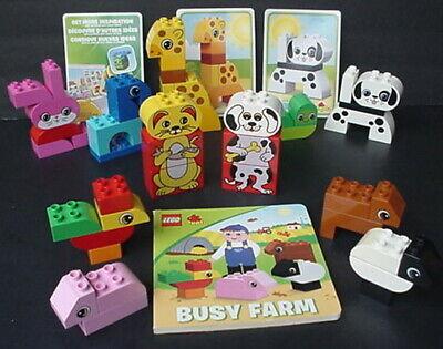 HUGE LOT LEGO Duplo 10573 CREATIVE ANIMALS BUSY FARM w/BOOK + vtg DOG CAT EXTRAS