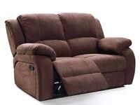 Brand New Brown Fabric Full Recliner Sofa Settee FAST LOCAL DELIVARY