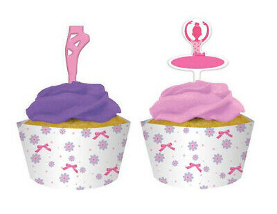 Ballet Decorations Party (BALLET birthday party CUPCAKE WRAPS w/TOPPERS dance recital shoes ballerina)