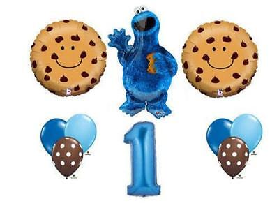 10 PC Cookie Monster 1ST BIRTHDAY  Balloons sesame street theme FREE - Monster Themed Birthday