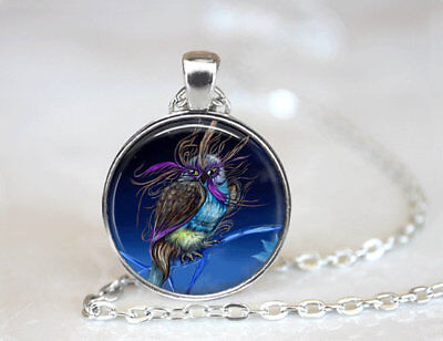 Owl Jewelry Bird photo Tibet silver Cabochon glass pendant chain Necklace - Owl Photo