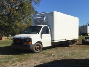 2005 GMC 3500 with 16 ft refrigerated box.